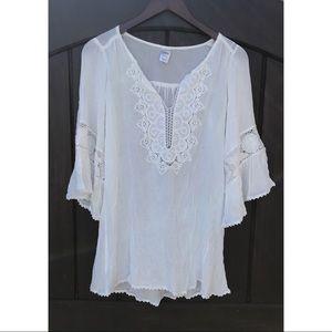 L Space White Boho Swim Coverup Mini Dress